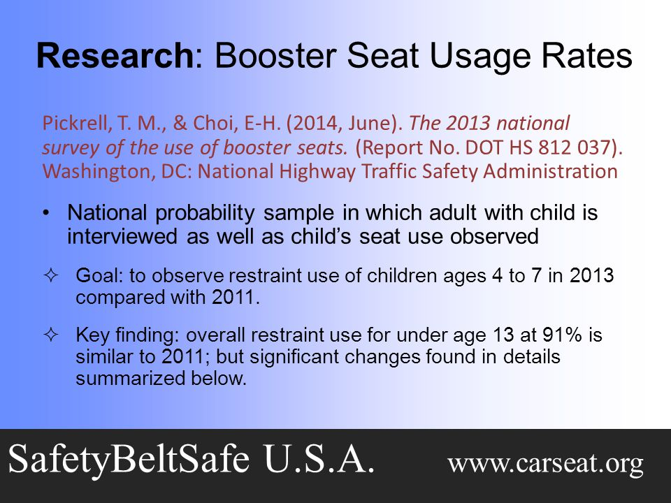 Research: Booster Seat Usage Rates SafetyBeltSafe U.S.A.