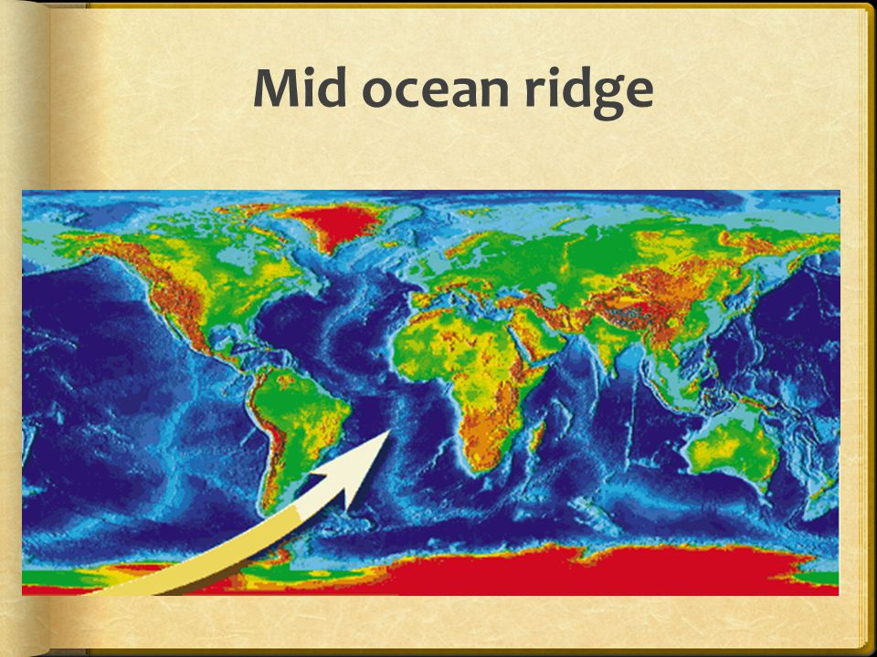 Mid ocean ridges  Are continuous underwater mountain ranges  Are formed by rising magma  Cause sea floor spreading  Form a rift valley between spreading plates Pillow lava at mid ocean ridge