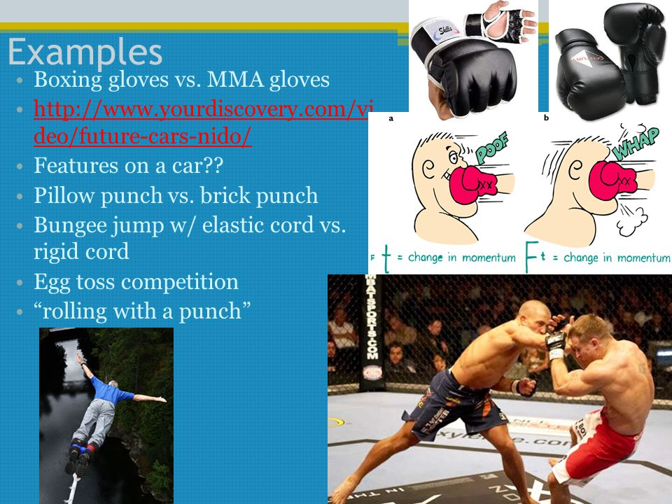Examples Boxing gloves vs. MMA gloves http://www.yourdiscovery.com/vi deo/future-cars-nido/http://www.yourdiscovery.com/vi deo/future-cars-nido/ Featu