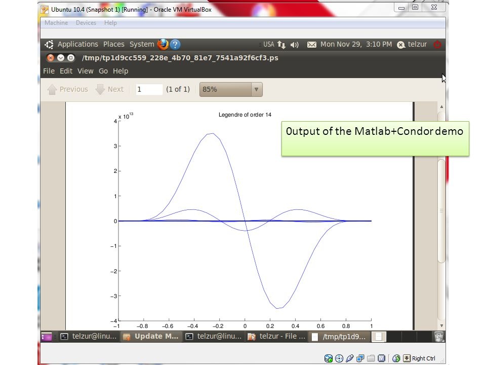 0utput of the Matlab+Condor demo