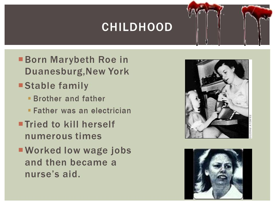  Born Marybeth Roe in Duanesburg,New York  Stable family  Brother and father  Father was an electrician  Tried to kill herself numerous times  W