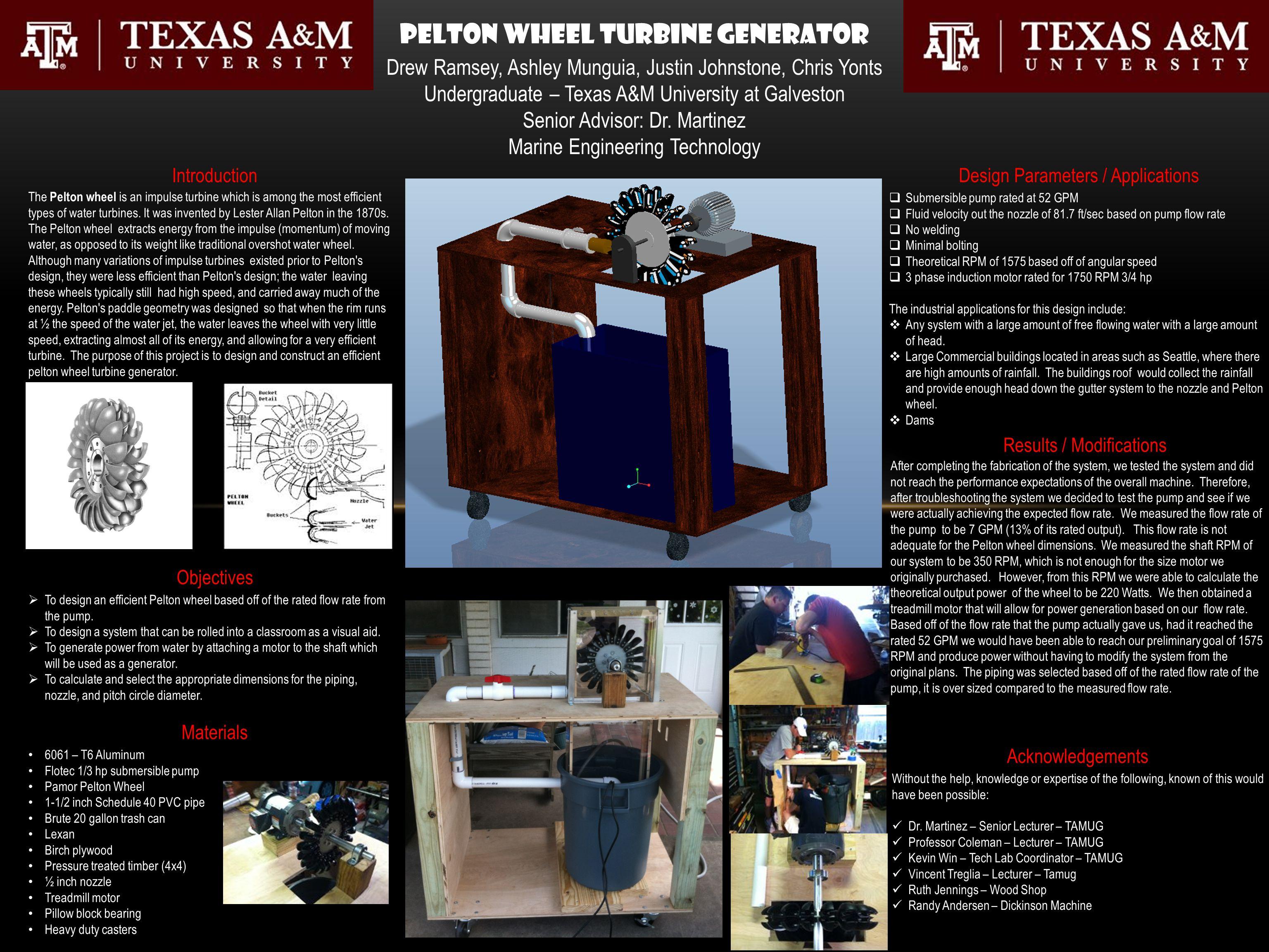 Pelton Wheel Turbine Generator Drew Ramsey, Ashley Munguia, Justin Johnstone, Chris Yonts Undergraduate – Texas A&M University at Galveston Senior Advisor: Dr.