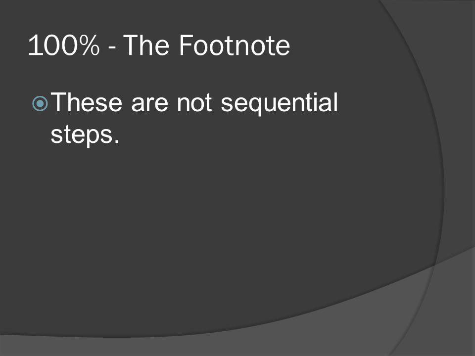 100% - The Footnote  These are not sequential steps.