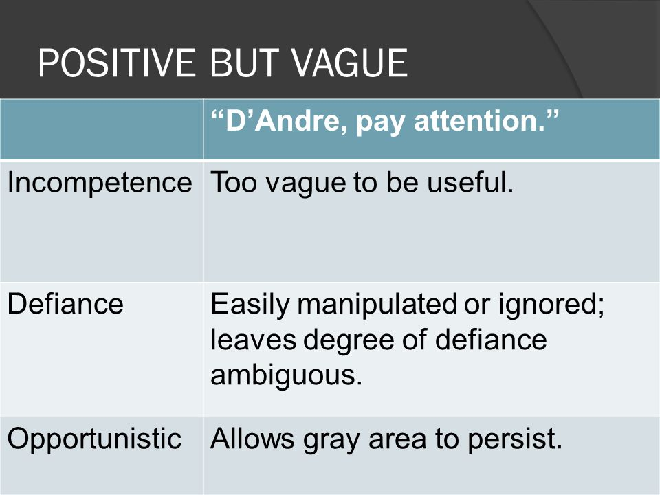 POSITIVE BUT VAGUE D'Andre, pay attention. IncompetenceToo vague to be useful.