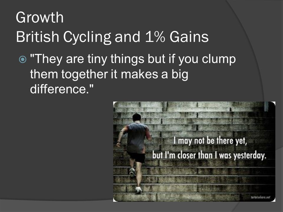 Growth British Cycling and 1% Gains  They are tiny things but if you clump them together it makes a big difference.