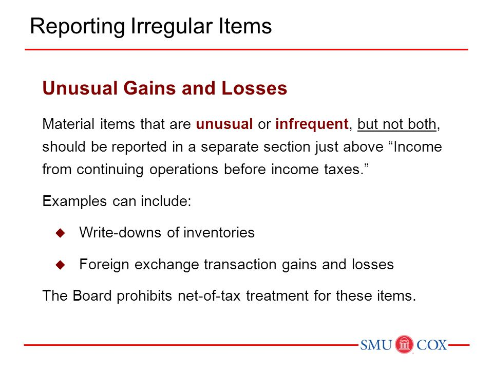 Illustration 4-7 Income Statement Presentation of Unusual Charges Unusual Gains and Losses Reporting Irregular Items