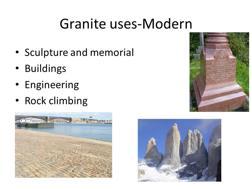 Granite uses-Modern Sculpture and memorial Buildings Engineering Rock climbing