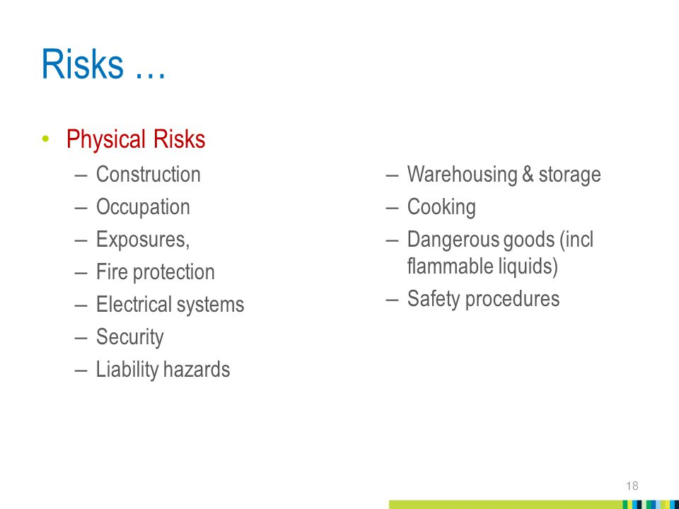 Risks … Physical Risks – Construction – Occupation – Exposures, – Fire protection – Electrical systems – Security – Liability hazards –Warehousing & storage –Cooking –Dangerous goods (incl flammable liquids) –Safety procedures 18