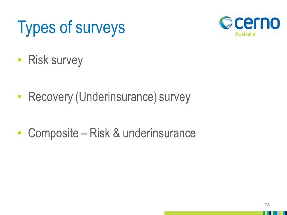 Types of surveys Risk survey Recovery (Underinsurance) survey Composite – Risk & underinsurance 26