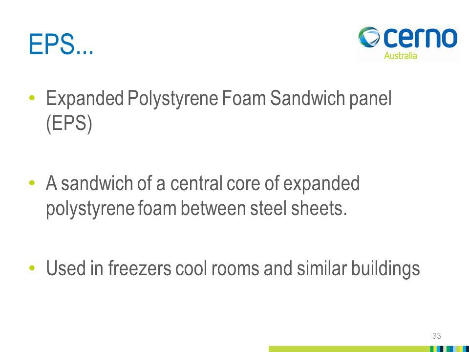 EPS... Expanded Polystyrene Foam Sandwich panel (EPS) A sandwich of a central core of expanded polystyrene foam between steel sheets. Used in freezers