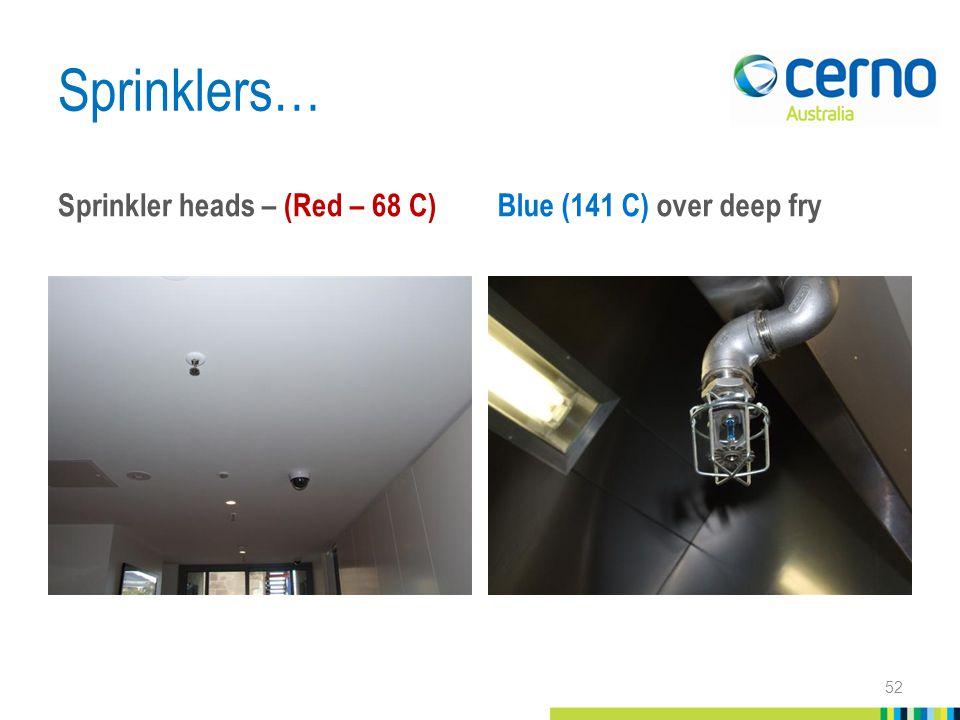 Sprinklers… Sprinkler heads – (Red – 68 C) Blue (141 C) over deep fry 52