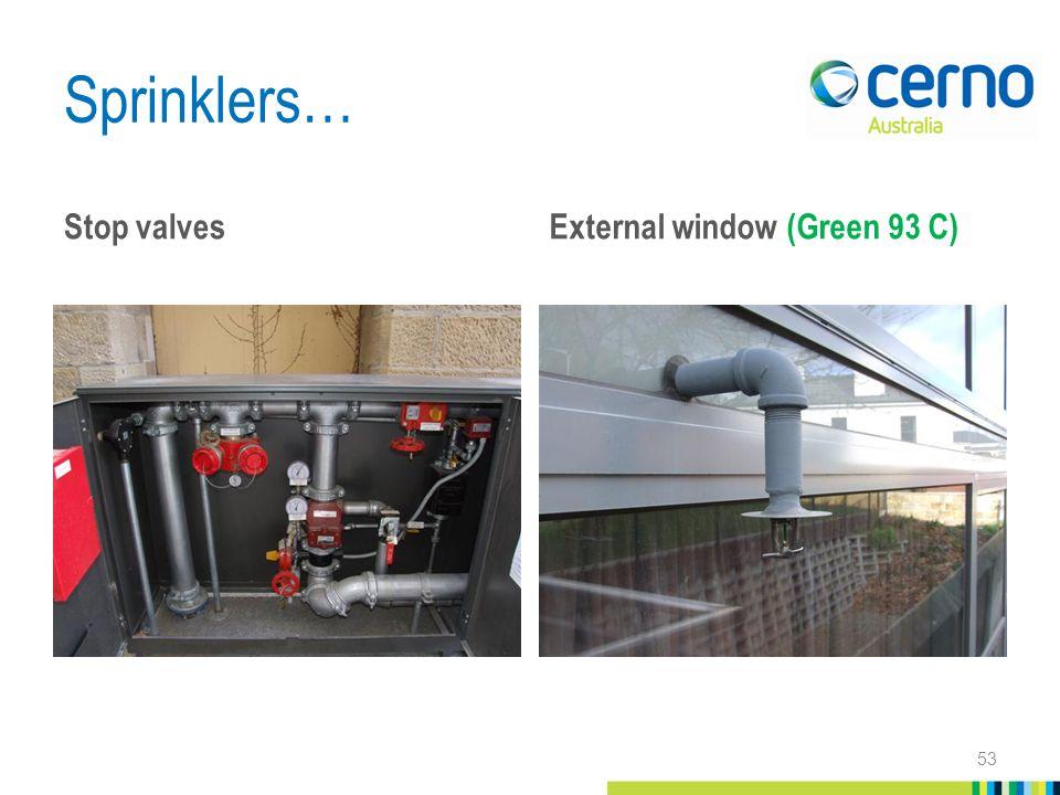 Sprinklers… Stop valves External window (Green 93 C) 53