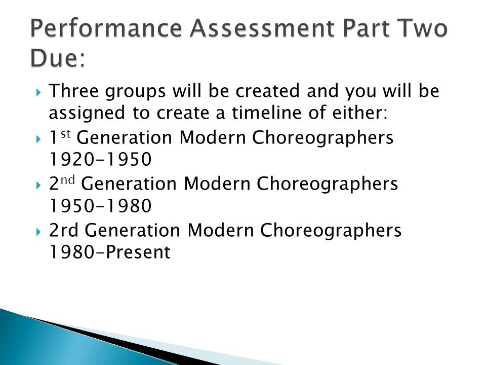  Three groups will be created and you will be assigned to create a timeline of either:  1 st Generation Modern Choreographers 1920-1950  2 nd Generation Modern Choreographers 1950-1980  2rd Generation Modern Choreographers 1980-Present