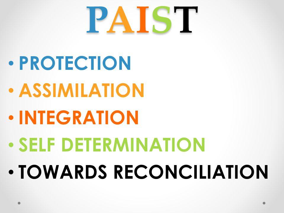 PAISTPAISTPAISTPAIST PROTECTION ASSIMILATION INTEGRATION SELF DETERMINATION TOWARDS RECONCILIATION