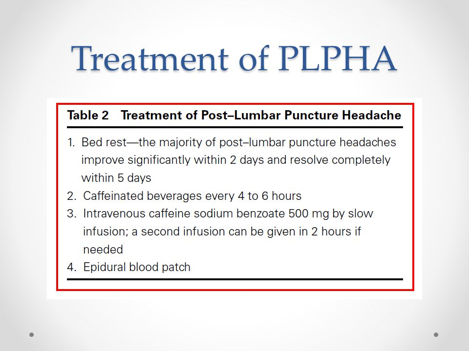 Treatment of PLPHA
