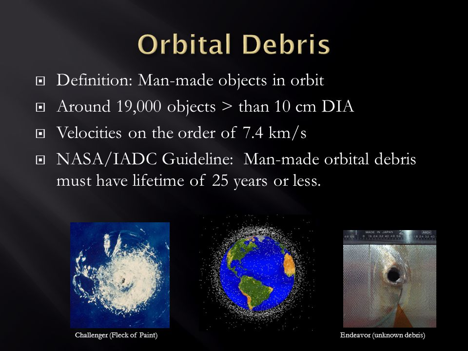  Definition: Man-made objects in orbit  Around 19,000 objects > than 10 cm DIA  Velocities on the order of 7.4 km/s  NASA/IADC Guideline: Man-made orbital debris must have lifetime of 25 years or less.