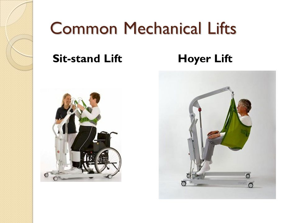 Common Mechanical Lifts Sit-stand LiftHoyer Lift