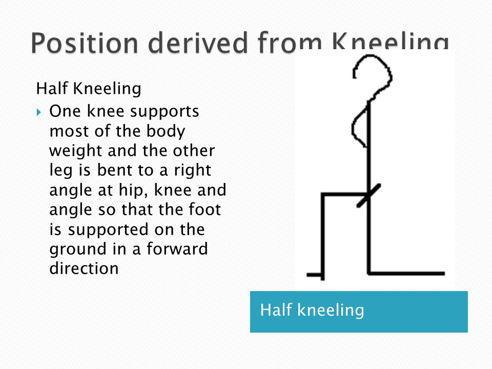 Half kneeling Half Kneeling  One knee supports most of the body weight and the other leg is bent to a right angle at hip, knee and angle so that the
