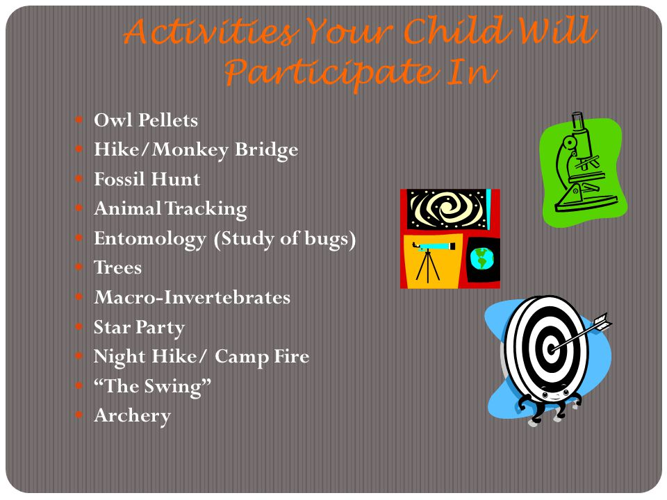 Activities Your Child Will Participate In Owl Pellets Hike/Monkey Bridge Fossil Hunt Animal Tracking Entomology (Study of bugs) Trees Macro-Invertebrates Star Party Night Hike/ Camp Fire The Swing Archery