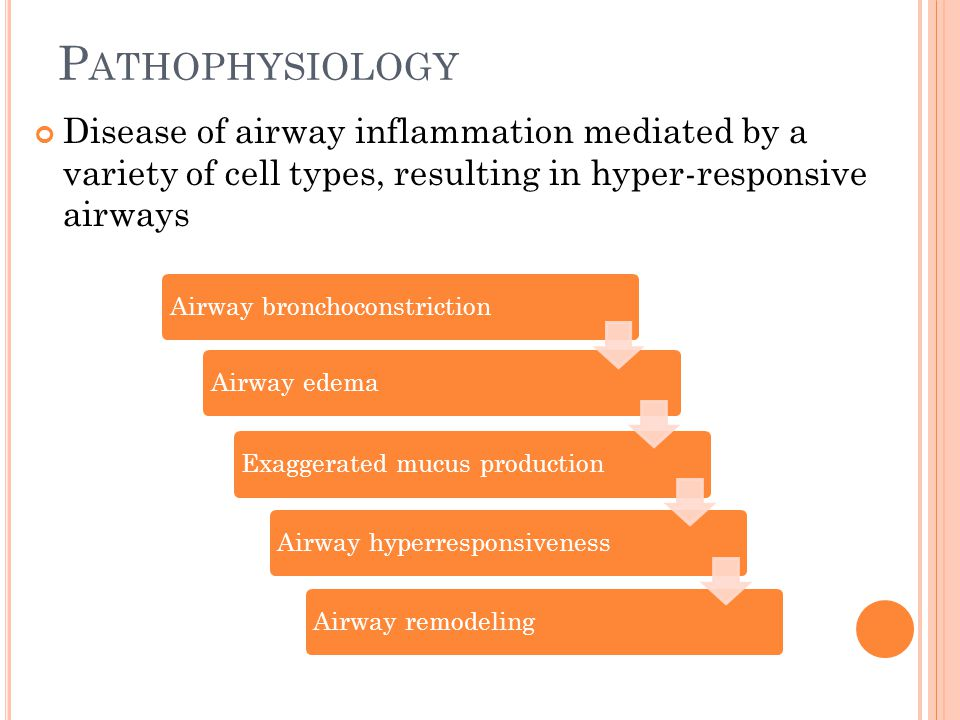 P ATHOPHYSIOLOGY Disease of airway inflammation mediated by a variety of cell types, resulting in hyper-responsive airways Airway bronchoconstrictionA