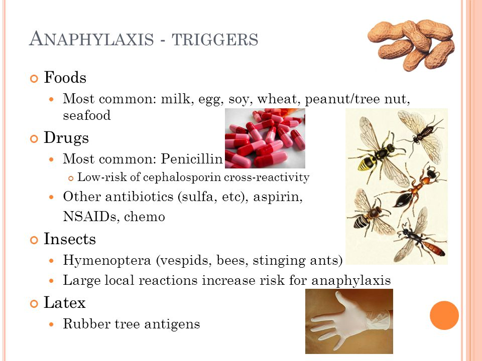 A NAPHYLAXIS - TRIGGERS Foods Most common: milk, egg, soy, wheat, peanut/tree nut, seafood Drugs Most common: Penicillin Low-risk of cephalosporin cro