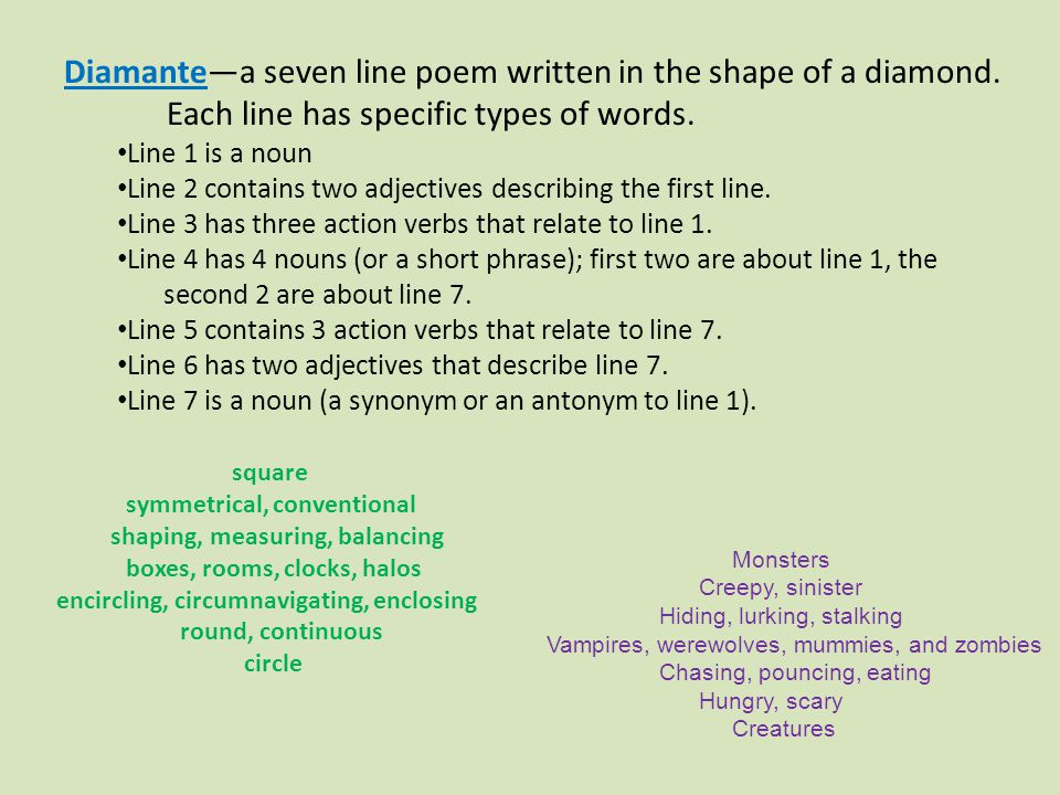 Diamante—a seven line poem written in the shape of a diamond. Each line has specific types of words. Line 1 is a noun Line 2 contains two adjectives d