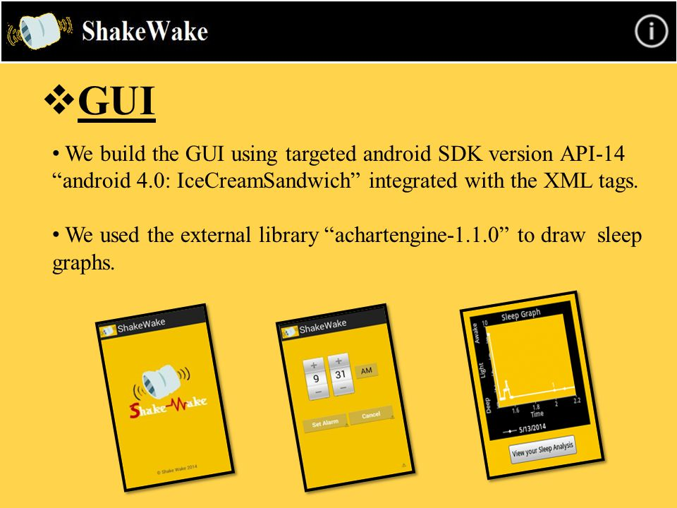 " GUI We build the GUI using targeted android SDK version API-14 ""android 4.0: IceCreamSandwich"" integrated with the XML tags. We used the external li"
