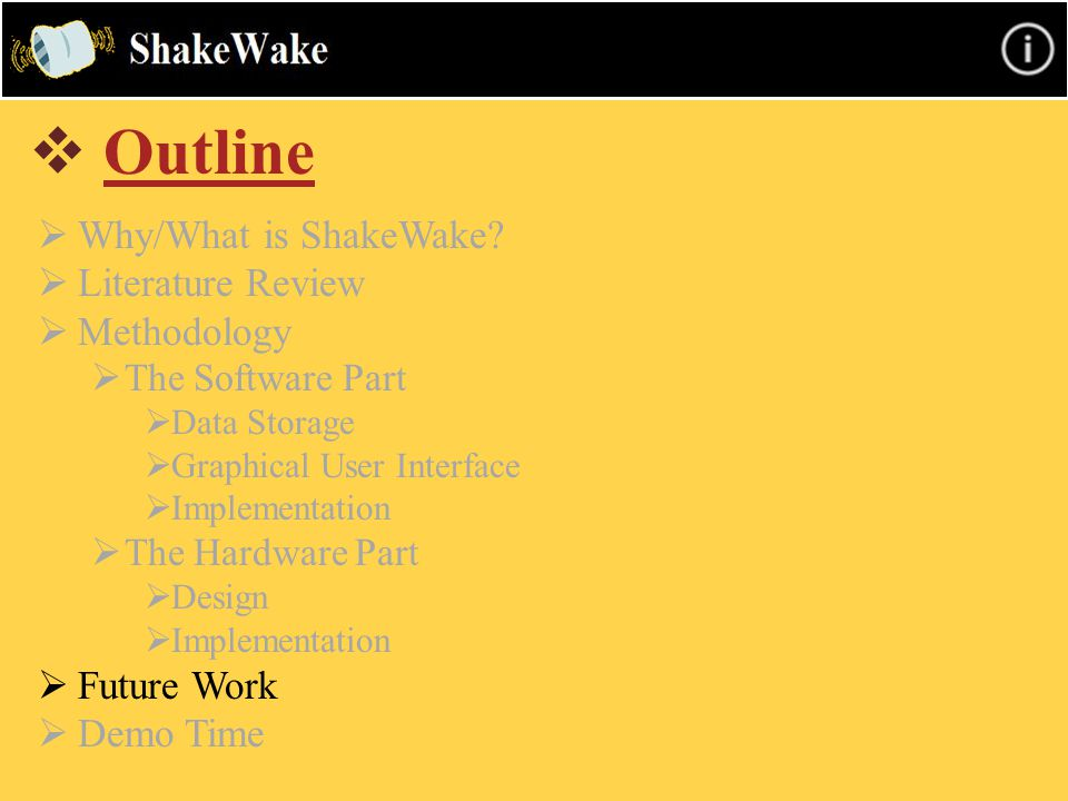  Outline  Why/What is ShakeWake?  Literature Review  Methodology  The Software Part  Data Storage  Graphical User Interface  Implementation 