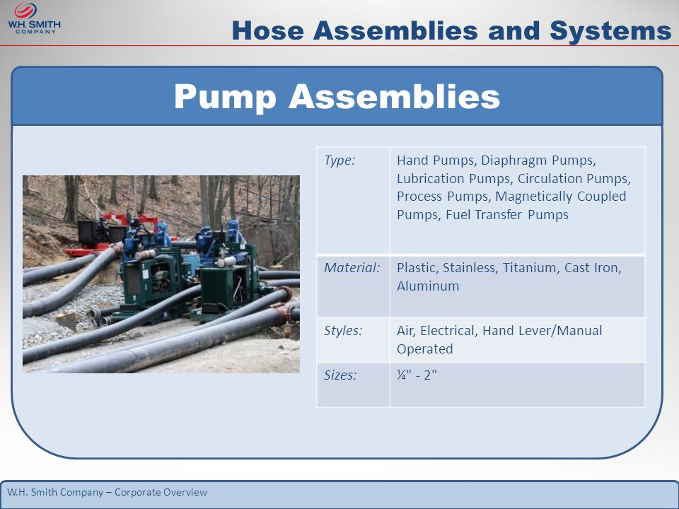 W.H. Smith Company – Corporate Overview Hose Assemblies and Systems Pump Assemblies Type:Hand Pumps, Diaphragm Pumps, Lubrication Pumps, Circulation P