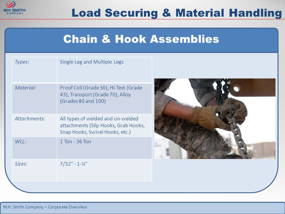 W.H. Smith Company – Corporate Overview Chain & Hook Assemblies Types:Single Leg and Multiple Legs Material:Proof Coil (Grade 30), Hi-Test (Grade 43),