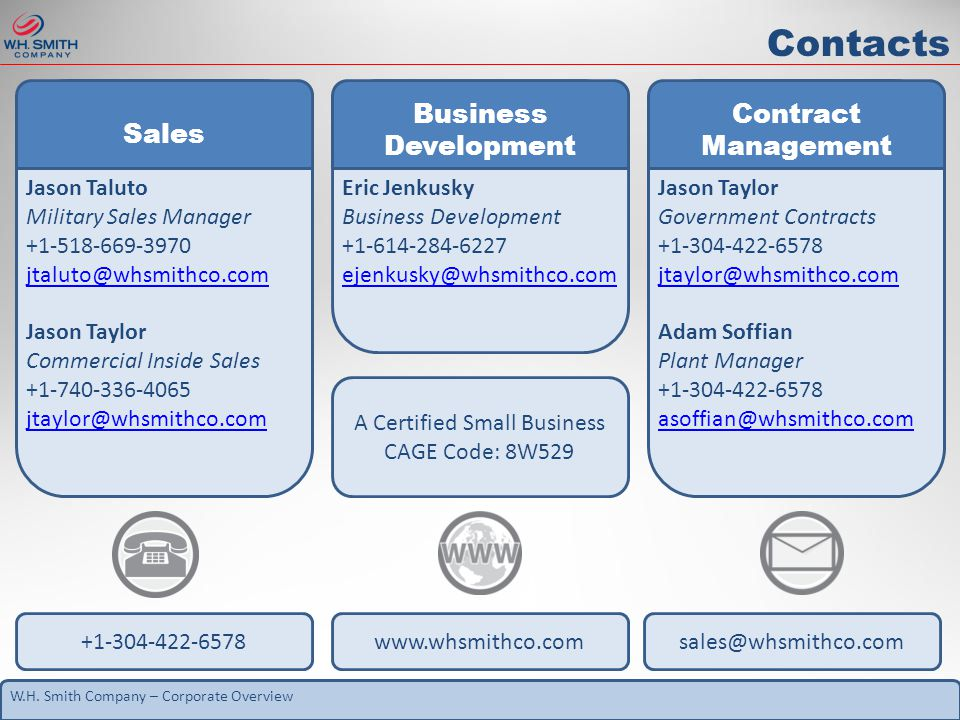 W.H. Smith Company – Corporate Overview Contacts Sales Business Development Contract Management Jason Taluto Military Sales Manager +1-518-669-3970 jt
