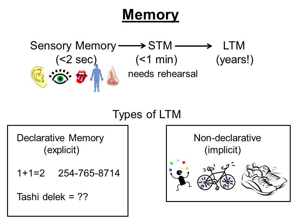 Memory Sensory Memory STM LTM (<2 sec) (<1 min) (years!) needs rehearsal Types of LTM Declarative MemoryNon-declarative (explicit) (implicit) 1+1=2 254-765-8714 Tashi delek =