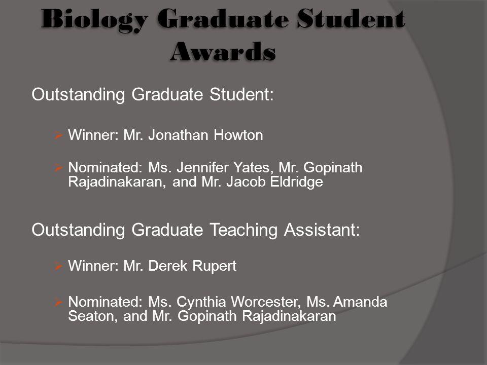 Biology Graduate Student Awards Outstanding Graduate Student:  Winner: Mr.
