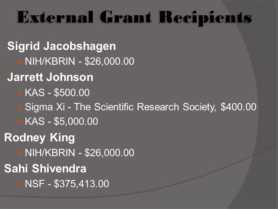 External Grant Recipients Sigrid Jacobshagen NIH/KBRIN - $26,000.00 Jarrett Johnson KAS - $500.00 Sigma Xi - The Scientific Research Society, $400.00 KAS - $5,000.00 Rodney King NIH/KBRIN - $26,000.00 Sahi Shivendra NSF - $375,413.00