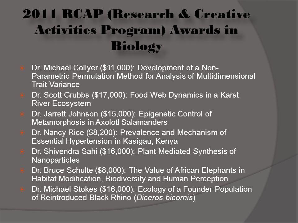 2011 RCAP (Research & Creative Activities Program) Awards in Biology  Dr.