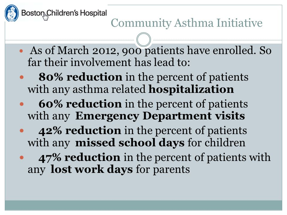 Community Asthma Initiative As of March 2012, 900 patients have enrolled.