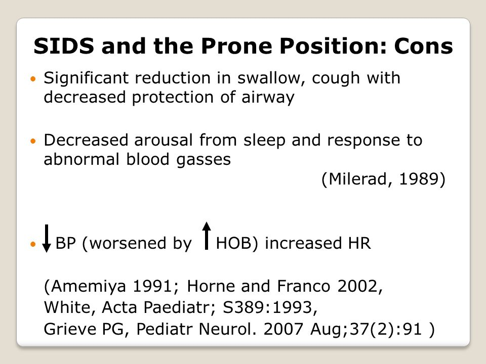 SIDS and the Prone Position: Cons Significant reduction in swallow, cough with decreased protection of airway Decreased arousal from sleep and response to abnormal blood gasses (Milerad, 1989) BP (worsened by HOB) increased HR (Amemiya 1991; Horne and Franco 2002, White, Acta Paediatr; S389:1993, Grieve PG, Pediatr Neurol.