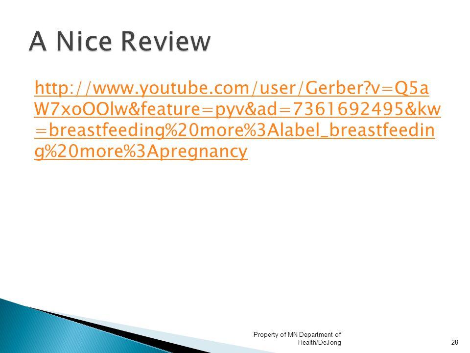 http://www.youtube.com/user/Gerber?v=Q5a W7xoOOlw&feature=pyv&ad=7361692495&kw =breastfeeding%20more%3Alabel_breastfeedin g%20more%3Apregnancy Propert