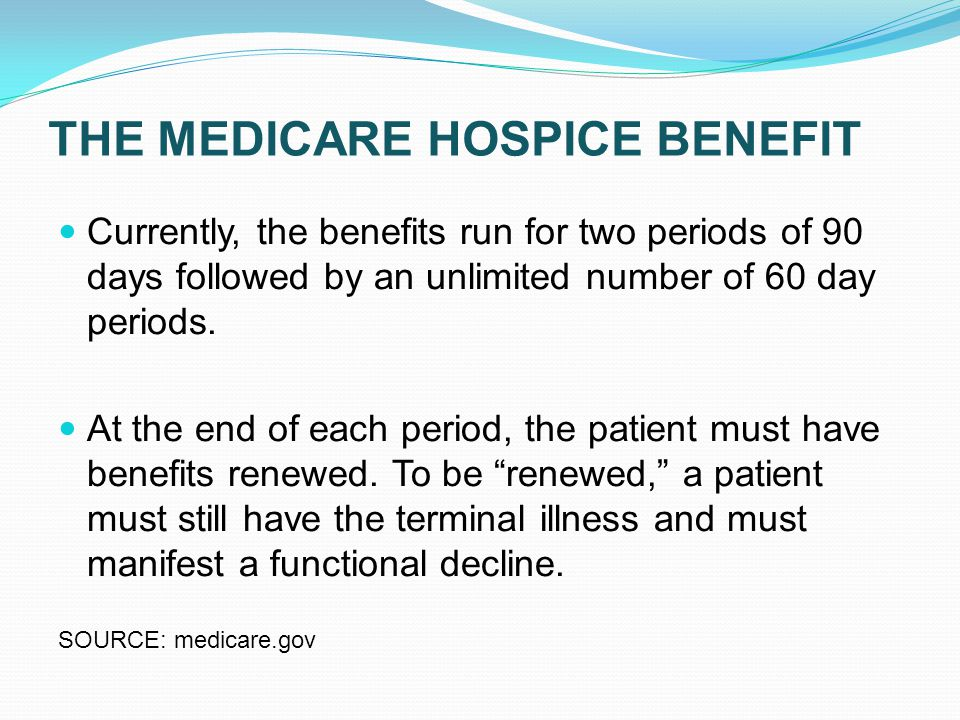 THE MEDICARE HOSPICE BENEFIT Currently, the benefits run for two periods of 90 days followed by an unlimited number of 60 day periods.