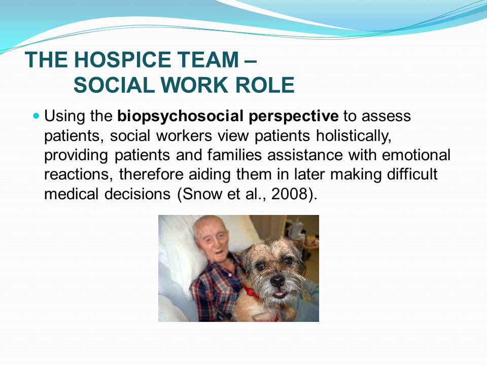 THE HOSPICE TEAM – SOCIAL WORK ROLE Using the biopsychosocial perspective to assess patients, social workers view patients holistically, providing patients and families assistance with emotional reactions, therefore aiding them in later making difficult medical decisions (Snow et al., 2008).
