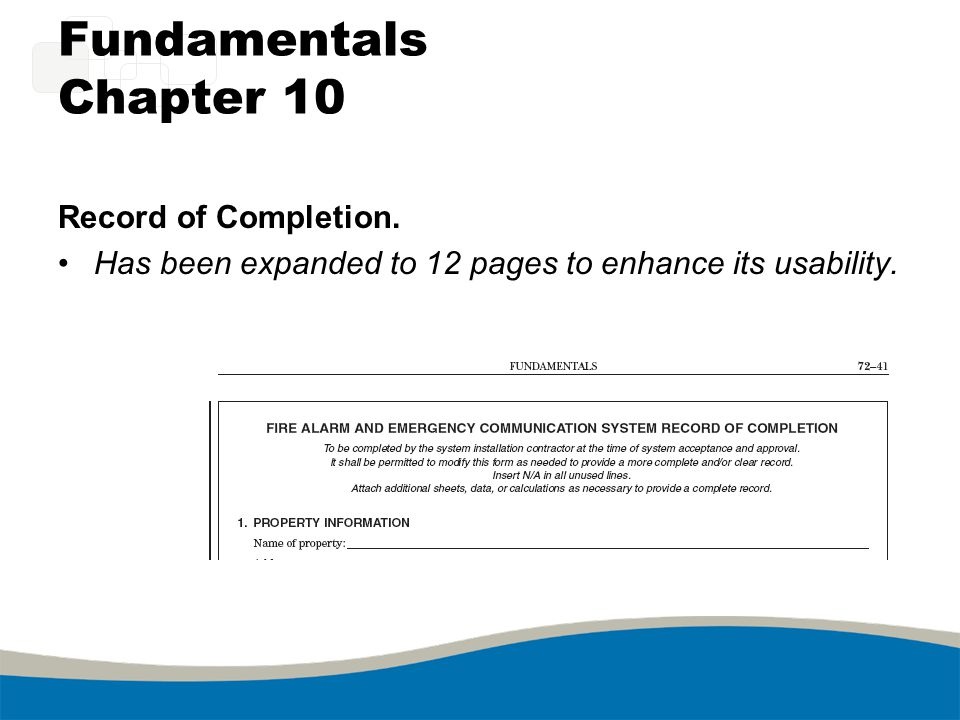 Fundamentals Chapter 10 Record of Completion. Has been expanded to 12 pages to enhance its usability.