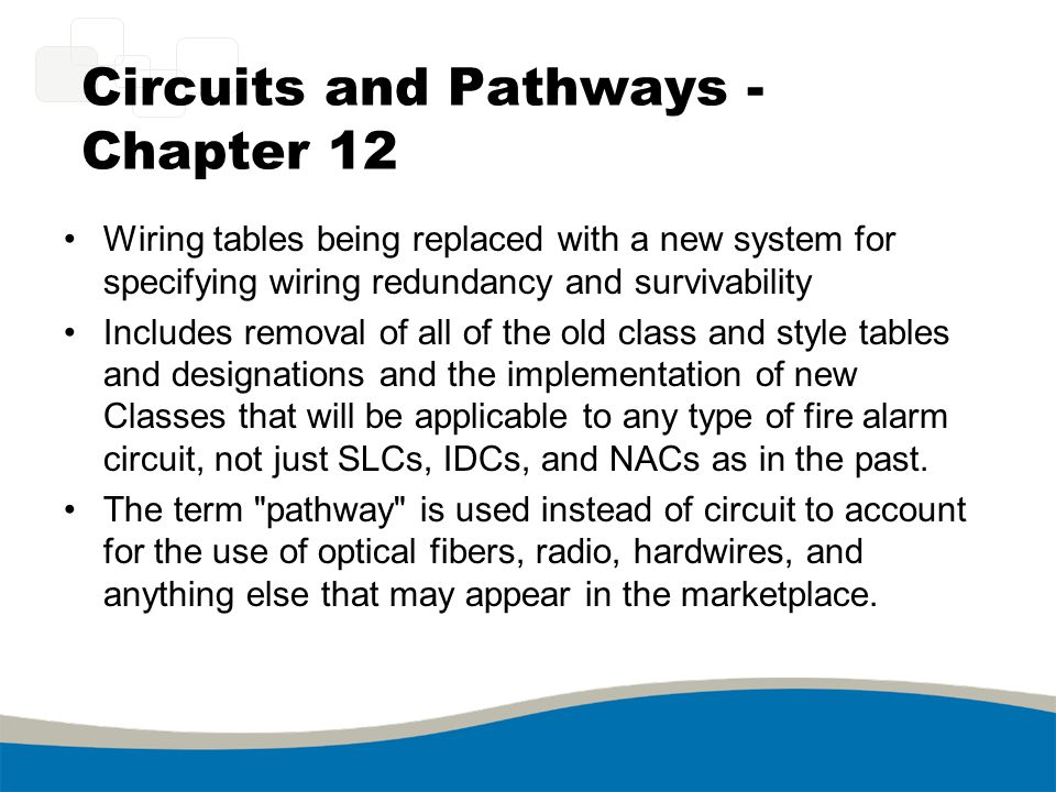 Circuits and Pathways - Chapter 12 Wiring tables being replaced with a new system for specifying wiring redundancy and survivability Includes removal