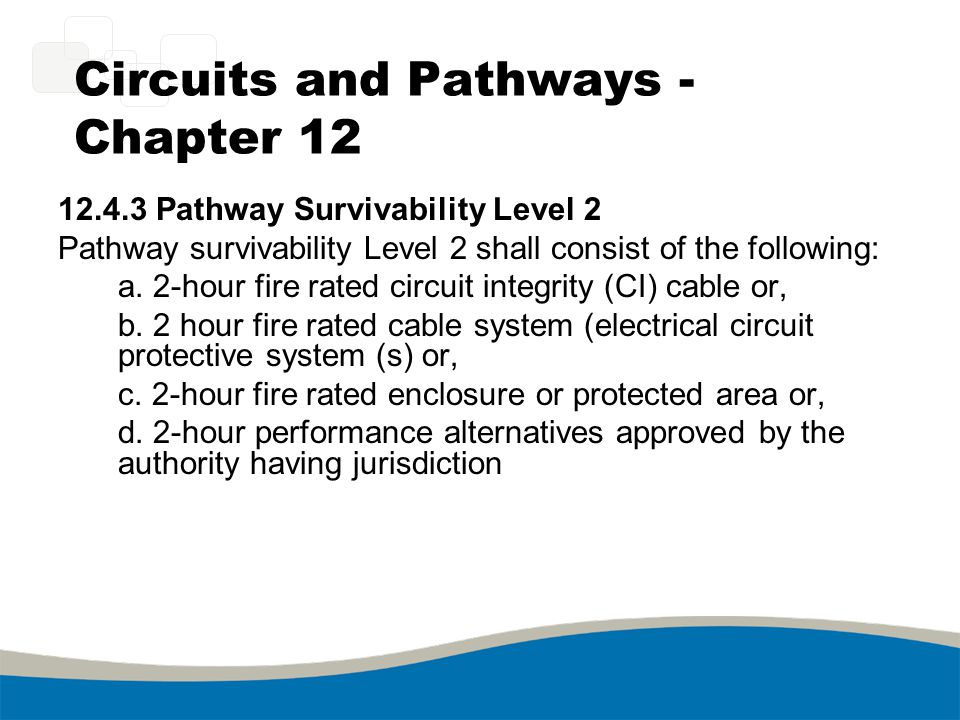 Circuits and Pathways - Chapter 12 12.4.3 Pathway Survivability Level 2 Pathway survivability Level 2 shall consist of the following: a. 2-hour fire r