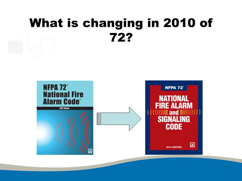 NFPA 72, 2010 Chapter Re-Organization 2007 edition had 11 Chapters 2010 edition has 29 Chapters –Administrative Chapters –Support Chapters –System Chapters –Usability Annexes