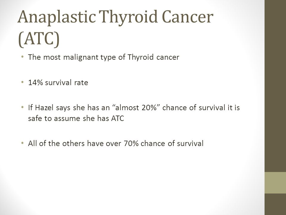 """Anaplastic Thyroid Cancer (ATC) The most malignant type of Thyroid cancer 14% survival rate If Hazel says she has an """"almost 20%"""" chance of survival i"""