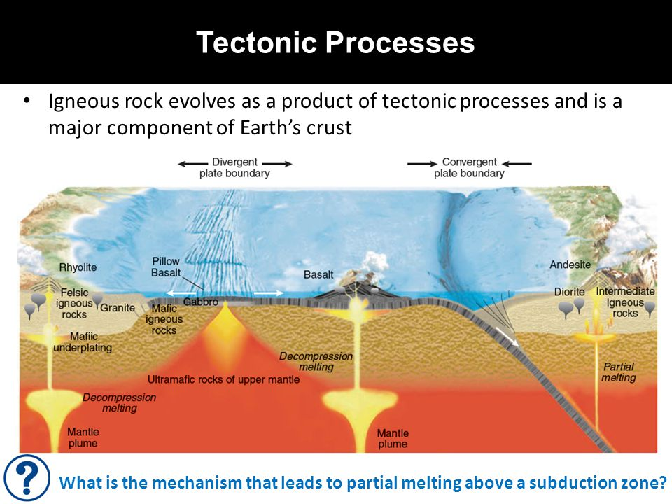 Tectonic Processes Igneous rock evolves as a product of tectonic processes and is a major component of Earth's crust What is the mechanism that leads to partial melting above a subduction zone?