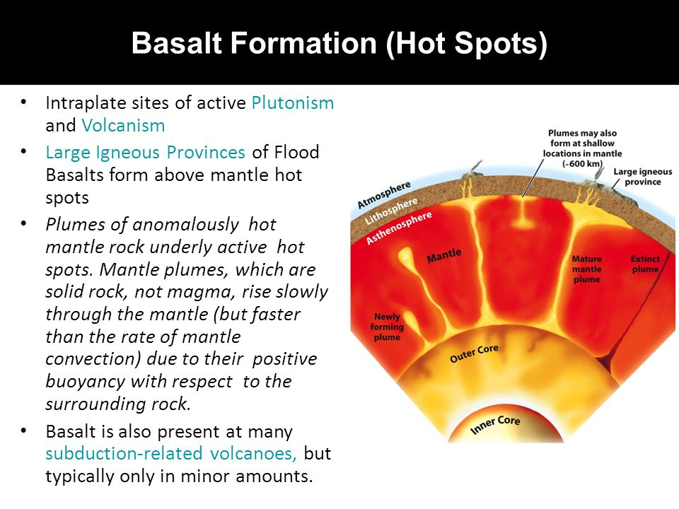 Basalt Formation (Hot Spots) Intraplate sites of active Plutonism and Volcanism Large Igneous Provinces of Flood Basalts form above mantle hot spots P