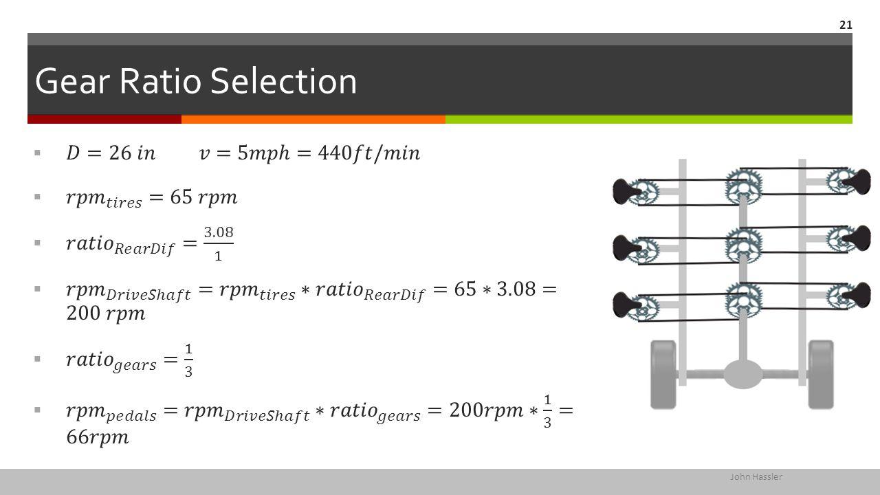 Gear Ratio Selection John Hassler 21