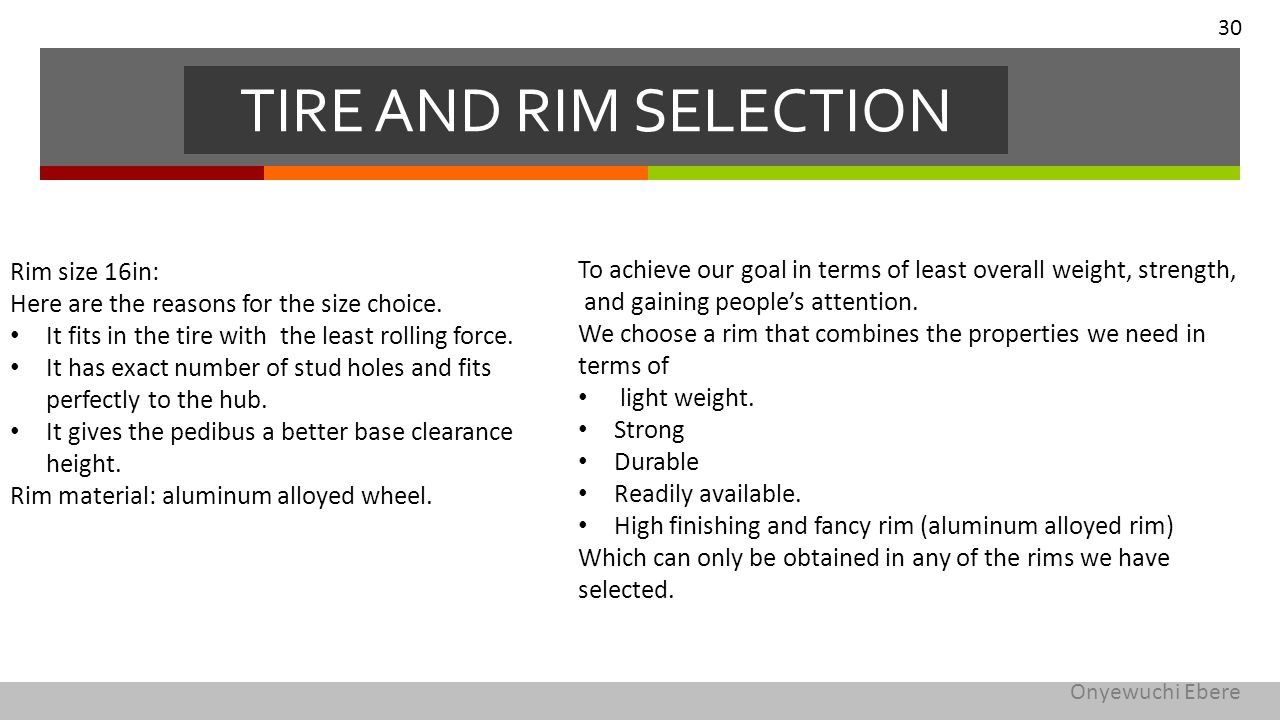 To achieve our goal in terms of least overall weight, strength, and gaining people's attention. We choose a rim that combines the properties we need i