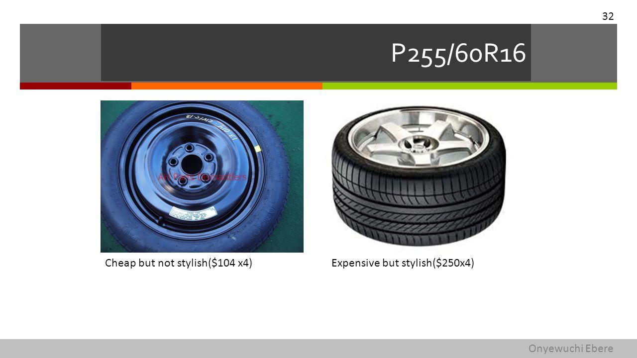 P255/60R16 Cheap but not stylish($104 x4)Expensive but stylish($250x4) 32 Onyewuchi Ebere